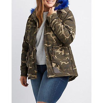 Plus Size Faux Fur-Trim Camo Anorak Jacket