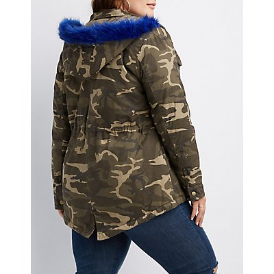 Plus Size Faux Fur-Trim Camo Anorak Jacket