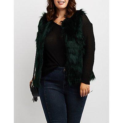 Plus Size Colored Faux Fur Vest