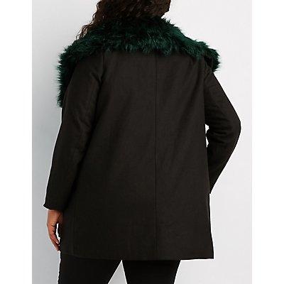 Plus Size Faux Fur-Trim Longline Coat