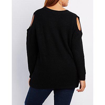 Plus Size Lace-Up Cold Shoulder Sweater