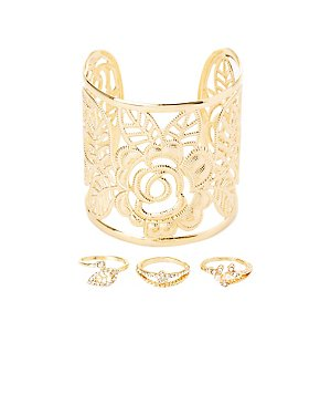 Embellished Stacking Rings & Cuff Bracelet - 4 Pack