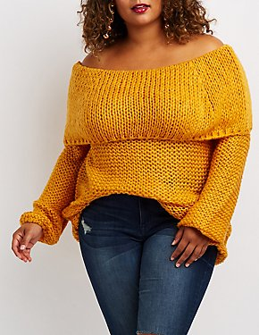 Plus Size Open-Knit Off-The-Shoulder Sweater