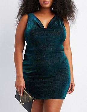 Plus Size Shimmer Knit Cowl Neck Bodycon Dress