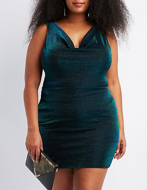 Plus Size Shimmer Knit Cowl Neck Bodycon Dress | Charlotte Russe