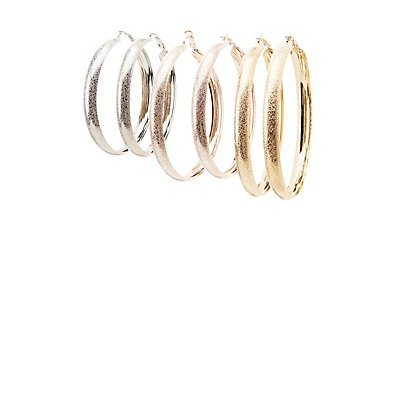 Textured Mixed Metal Hoop Earrings - 3 Pack