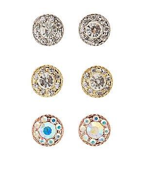 Rhinestone Stud Earrings - 3 Pack