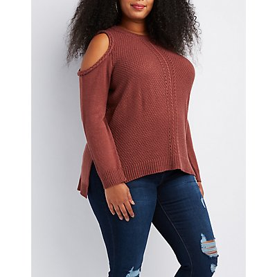 Plus Size Mixed Knit Cold Shoulder Sweater