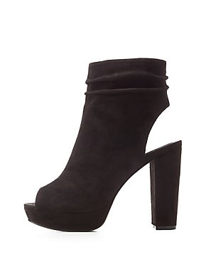 Ruched Peep Toe Platform Booties