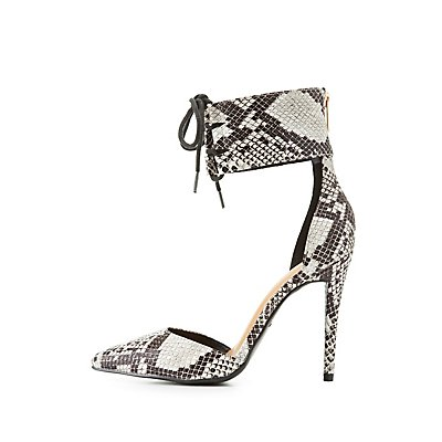 Faux Snakeskin Lace-Up D'Orsay Pumps