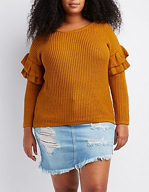 Plus Size Shaker Stitch Ruffle-Trim Sweater