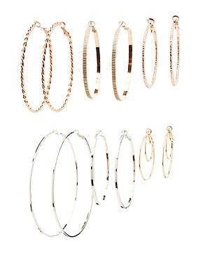 Smooth & Textured Hoop Earrings - 7  Pack