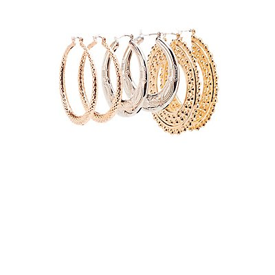 Textured Hoop Earrings - 3 Pack