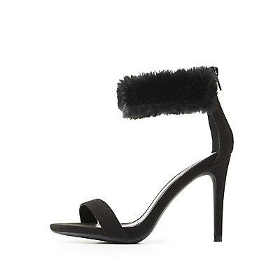 Fur-Trim Ankle Strap Dress Sandals