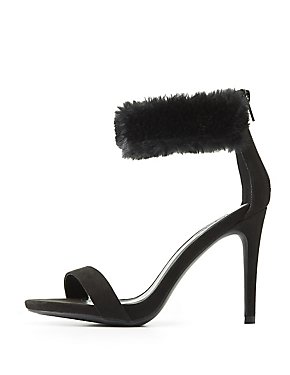 Fur-Trim Two-Piece Dress Sandals