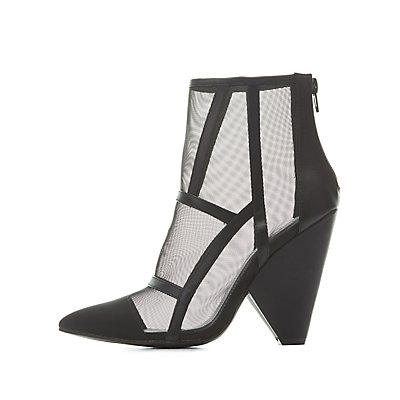 Pointed Toe Mesh Booties