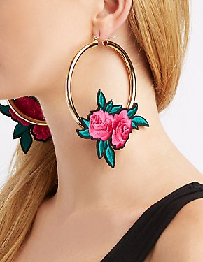 Floral Patch Hoop Earrings
