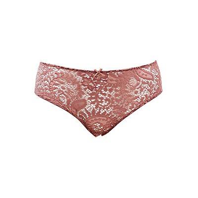 Plus Size Caged-Back Lace Boyshort Panties