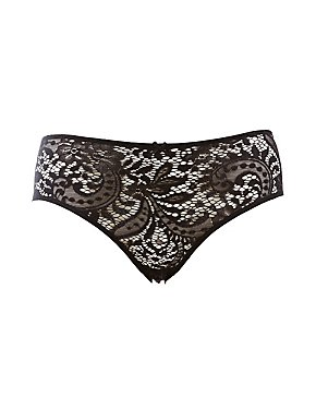 Plus Size Caged-Back Lace Boyshort Panties