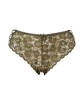Plus Size Scalloped Lace Caged Cheeky Panties