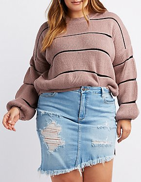 Plus Size Striped Shaker Stitch Sweater