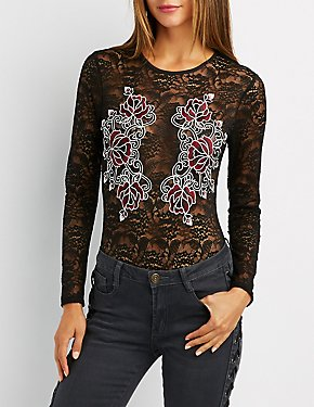 Floral Embroidered Lace Bodysuit