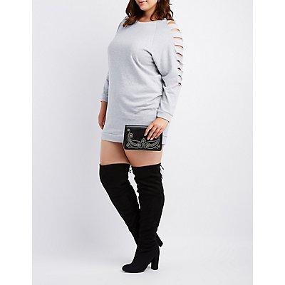 Plus Size Caged Sleeve Sweatshirt Dress