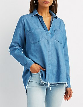 Frayed Chambray Split-Back Button-Up Shirt