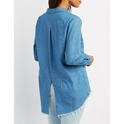 Frayed Chambray Split-Back Button-Up Shirt