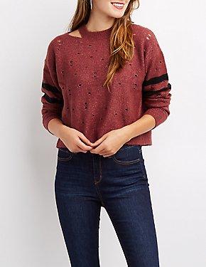Destroyed Varsity Stripe Cropped Sweater