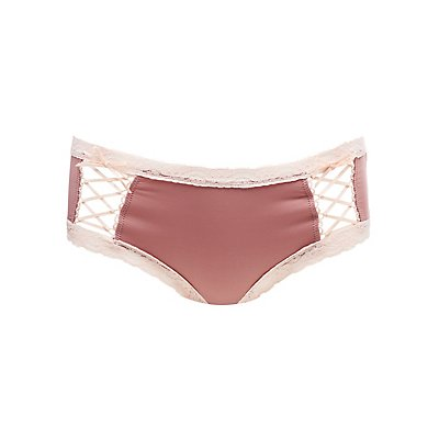 Lace-Trim Lace-Up Detail Hipster Panties
