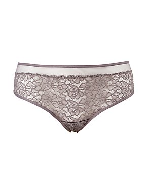 Plus Size Mesh Lace Hipster Panties
