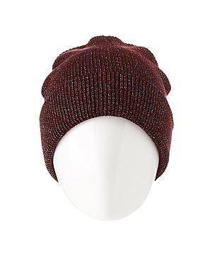 Metallic Rib Knit Beanie