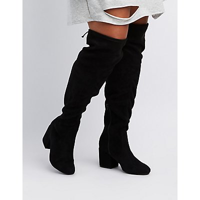 Wide Width Tie-Back Over-The-Knee Boots