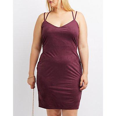 Plus Size Strappy Faux Suede Bodycon Dress