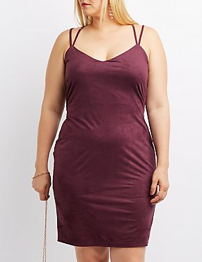 Plus Size Strappy Faux Suede Bodycon Dress
