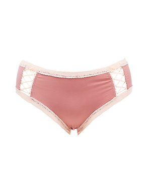 Plus Size Lace-Trim Caged Cheeky Panties