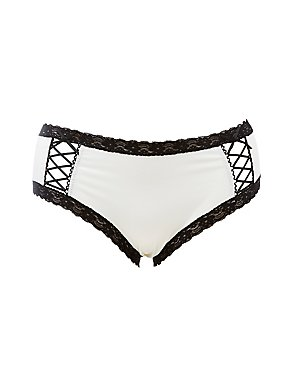 Plus Size Lace-Trim Caged Hipster Panties