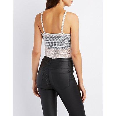 Sheer Lace Surplice Bodysuit
