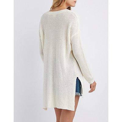 Shaker Stitch Tunic Sweater