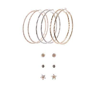 Embellished Stud & Hoop Earrings - 6 Pack