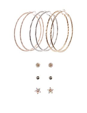 Embellished Stud & Hoop Earrings - 6 Pack