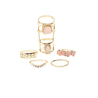 Embellished Stacking Rings - 5 Pack