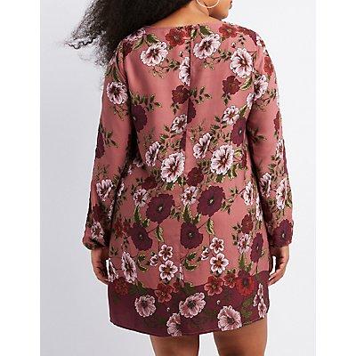 Plus Size Floral Split-Sleeve Shift Dress