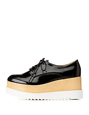 Faux Patent Oxford Platforms
