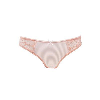 Striped & Lace Thong Panties
