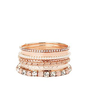 Embellished Bangle Bracelets - 7 Pack