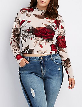 Plus Size Floral Metal O-Ring Detail Top