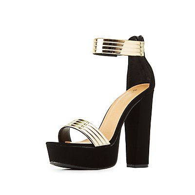 Bamboo Gold-Trim Two-Piece Platform Sandals