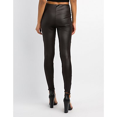 Mesh-Trim Liquid Leggings